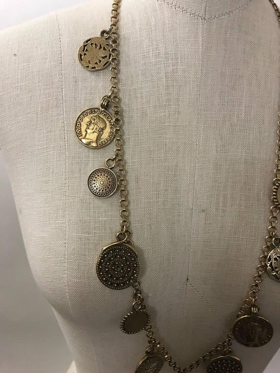 Yves Saint Laurent 1977 Gypsy Coin Medallian Gold Tone Necklace Single Strand 4