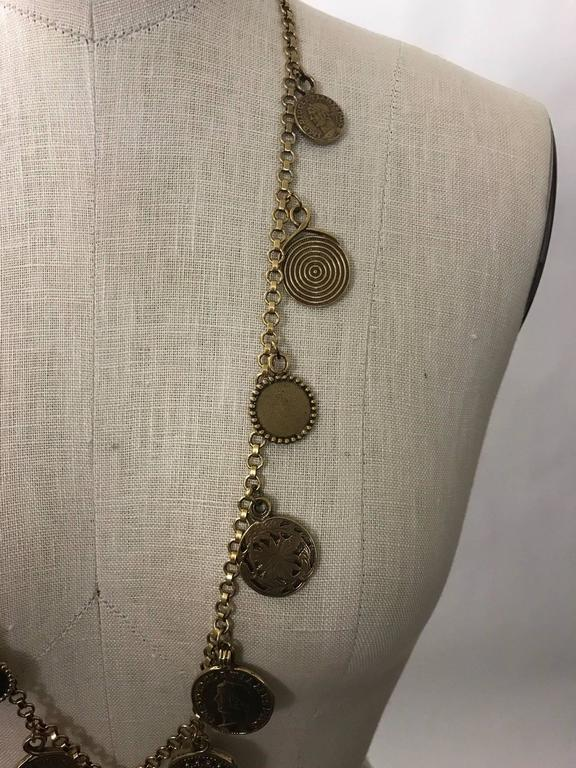 Yves Saint Laurent 1977 Gypsy Coin Medallian Gold Tone Necklace Single Strand 5