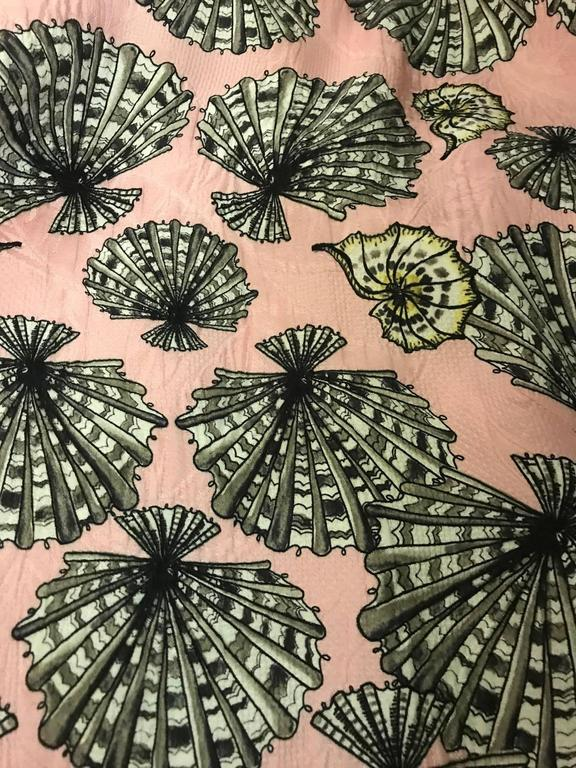 Brown New Emilio Pucci Pink Silk Shell Seashell Print Belted Sleeveless Sun Dress For Sale