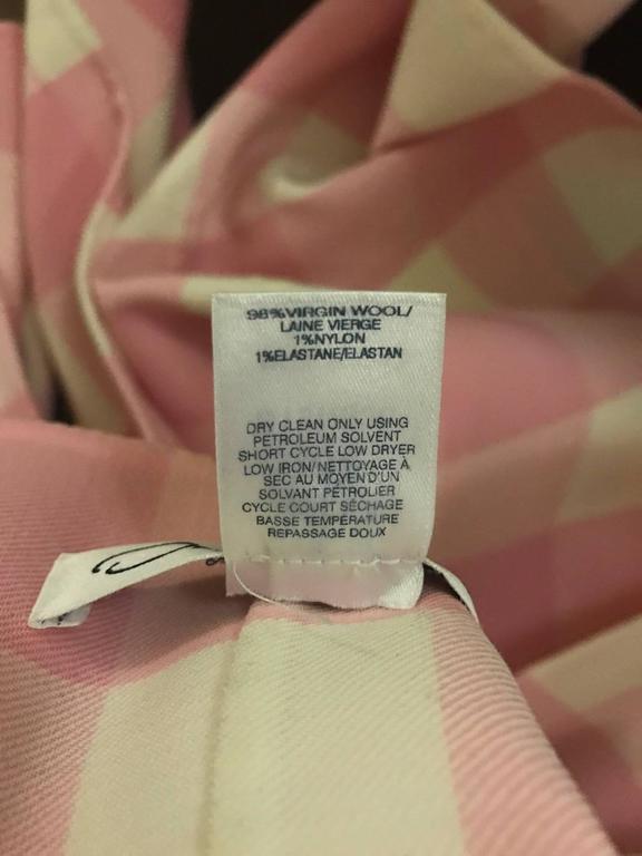 Beige Oscar de la Renta 2015 Runway Pink White Buffalo Check Virgin Wool Coat For Sale
