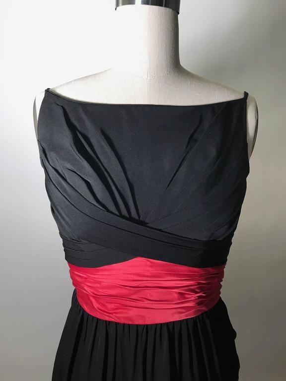 Ceil Chapman 1950s Silk Cocktail Dress with Pink Red Sash Cummerbund 2