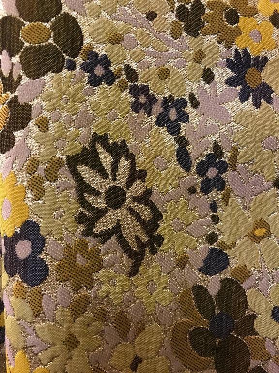 Guy Laroche 1960s Metallic Gold Yellow Floral Print Open Front Long Maxi Vest 3