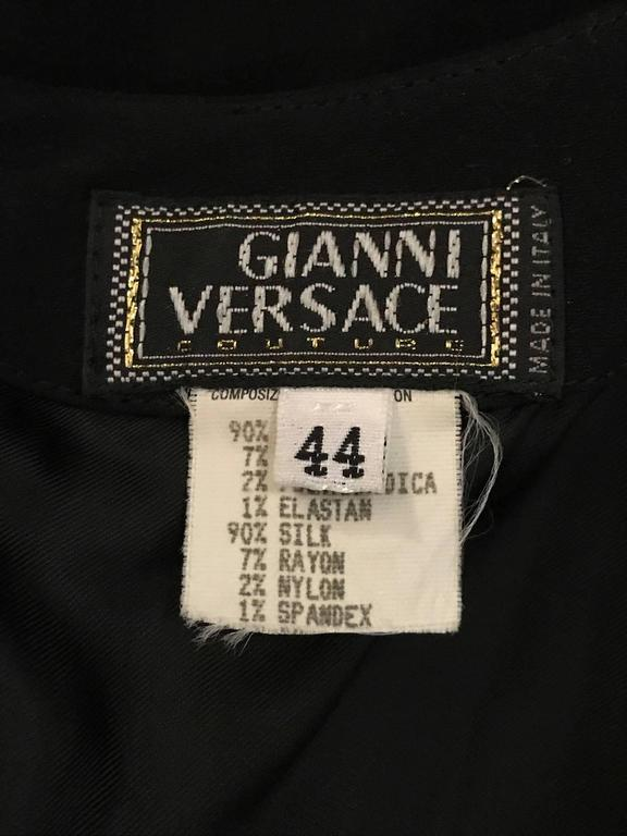 Women's Gianni Versace Couture Vintage 1990s Backless Studded Little Black Dress For Sale