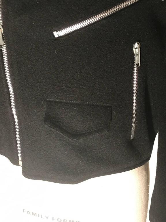 Women's Sprouse by Stephen Sprouse Black Wool Biker Jacket with Zipper Pockets, 1980s  For Sale