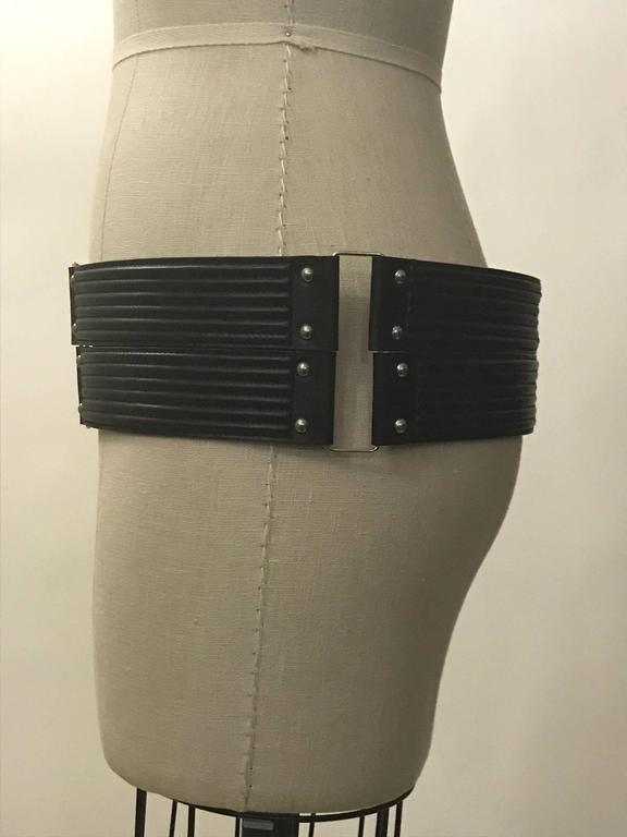 Azzedine Alaia Quilted Black Leather Wide Belt  In Excellent Condition For Sale In San Francisco, CA