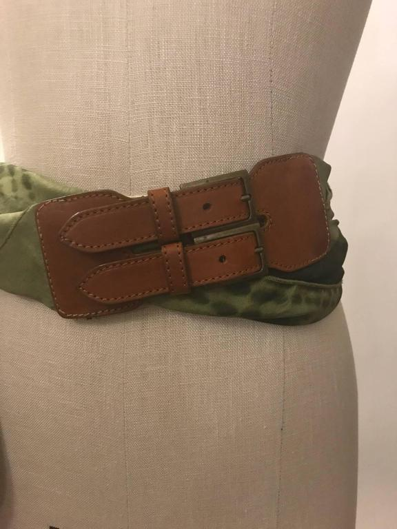 Brown Alexander McQueen Green Silk Scarf Tie Dye Belt  For Sale