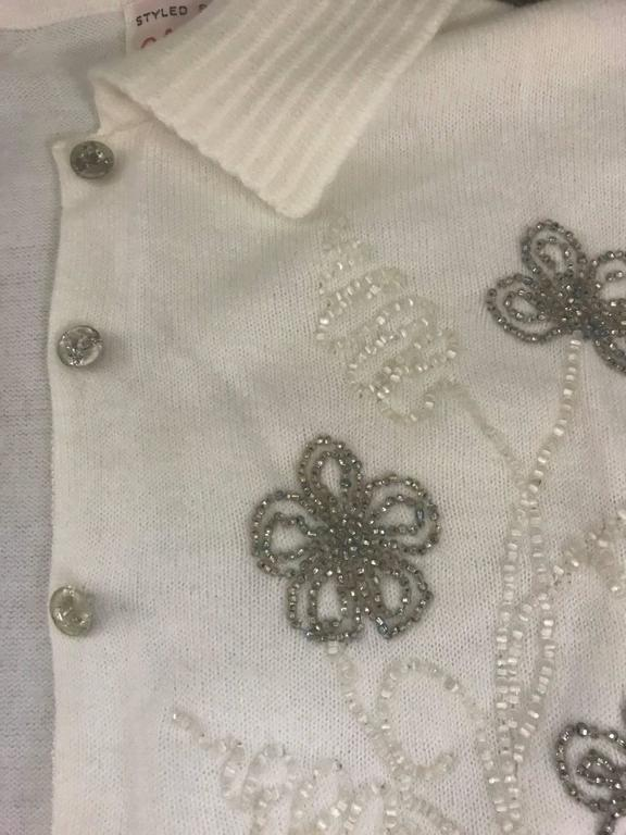 Schiaparelli Soft White Floral Beaded Embellished Cardigan Sweater, 1960s  In New Condition For Sale In San Francisco, CA