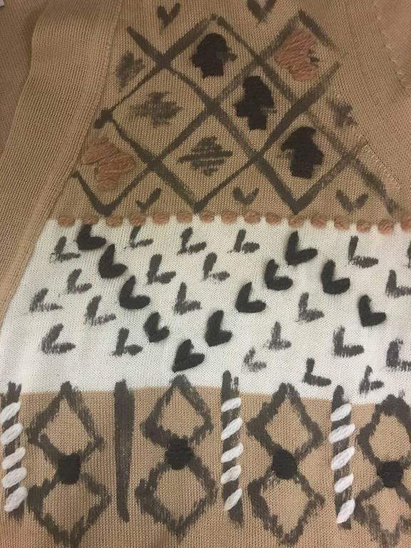 Brown New Yves Saint Laurent Cashmere Camel Geometric Paint Print Cardigan Sweater For Sale