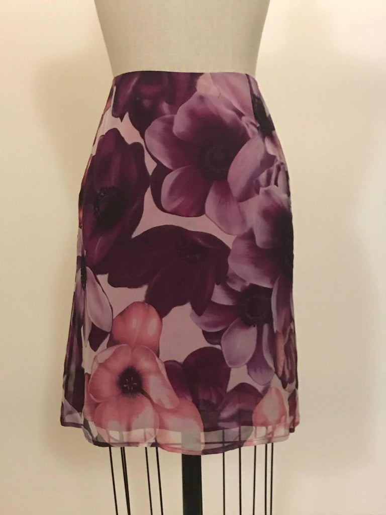 Gianni Versace Couture 1990s Purple Floral Print Silk Chiffon Skirt  2