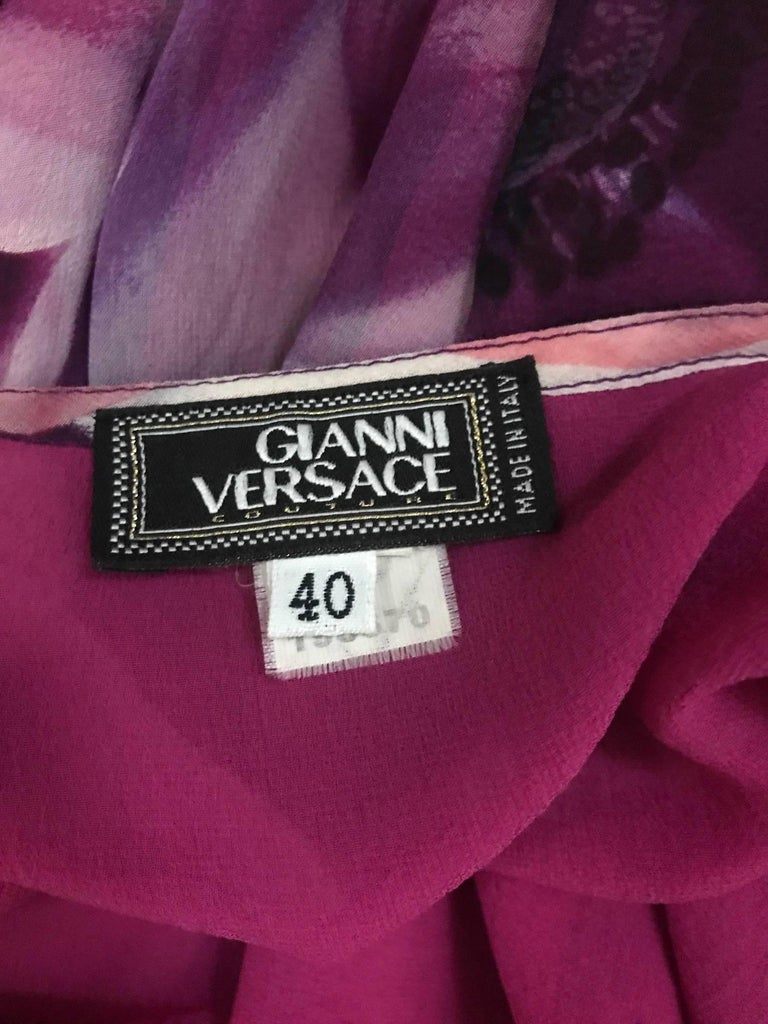 Gianni Versace Couture 1990s Purple Floral Print Silk Chiffon Skirt  3