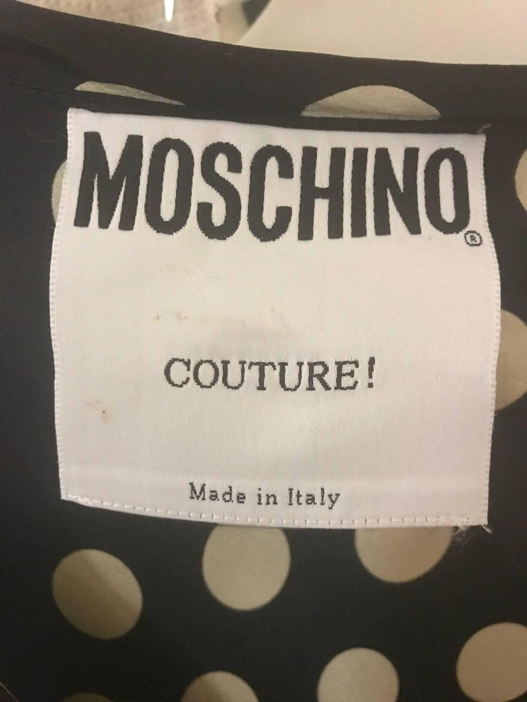 Moschino Couture! 1980s Black and White Silk Polka Dot Long Maxi Dress  4