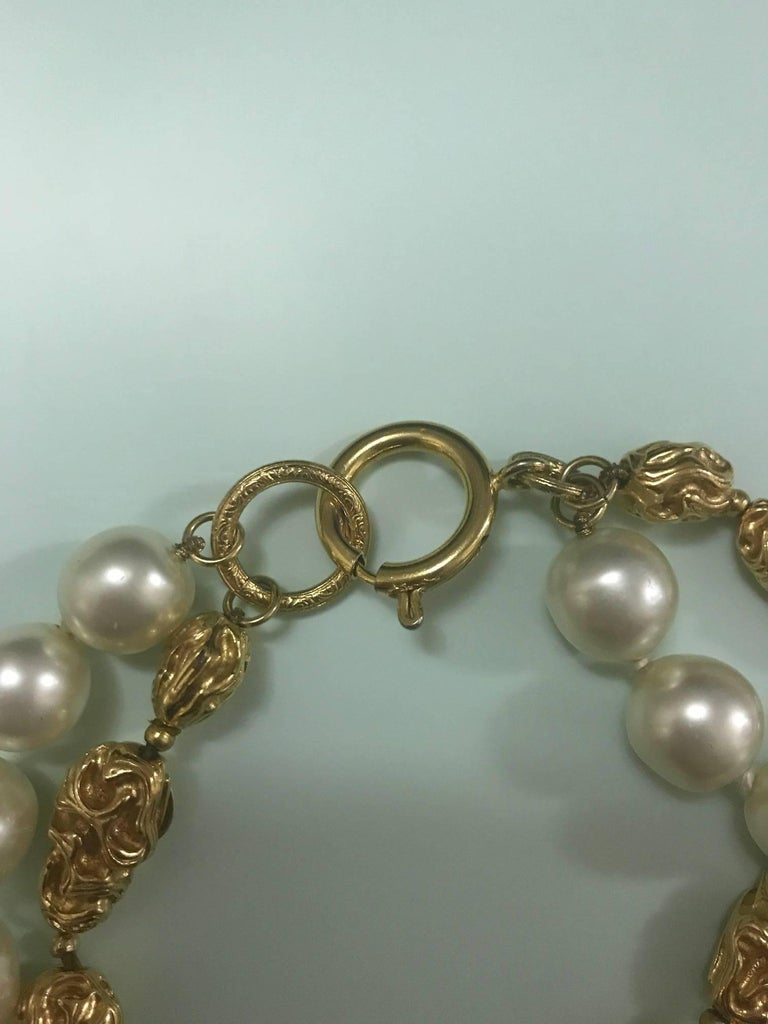 Chanel Vintage 1970s Faux Gold Nugget and Pearl Double Strand Necklace  5