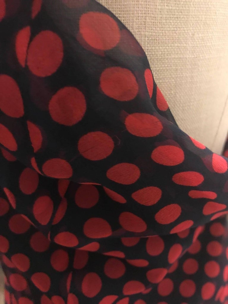 New 2007 Alexander McQueen Silk Polka Dot Fringed Scarf Halter Top Red and Black For Sale 2