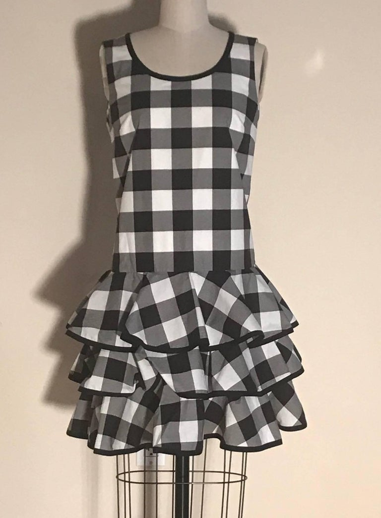 Dolce & Gabbana New with Tags Black and White Gingham Check Ruffle Bottom Dress 2