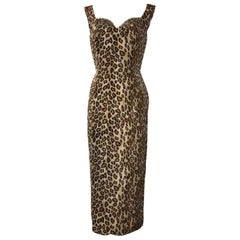 Alexander McQueen Leopard Print Sleeveless Midi Wiggle Dress with Lace Trim 2005