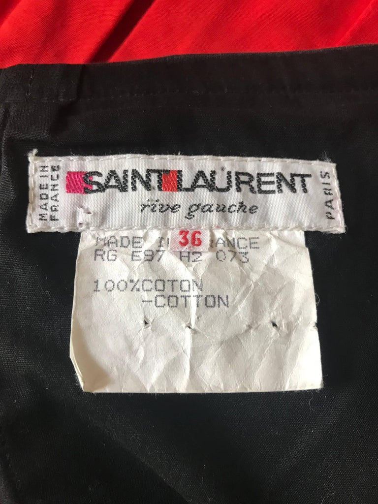 Yves Saint Laurent Vintage Red and Black Strapless Ruffle Mini Dress, 1990s  In Excellent Condition For Sale In San Francisco, CA