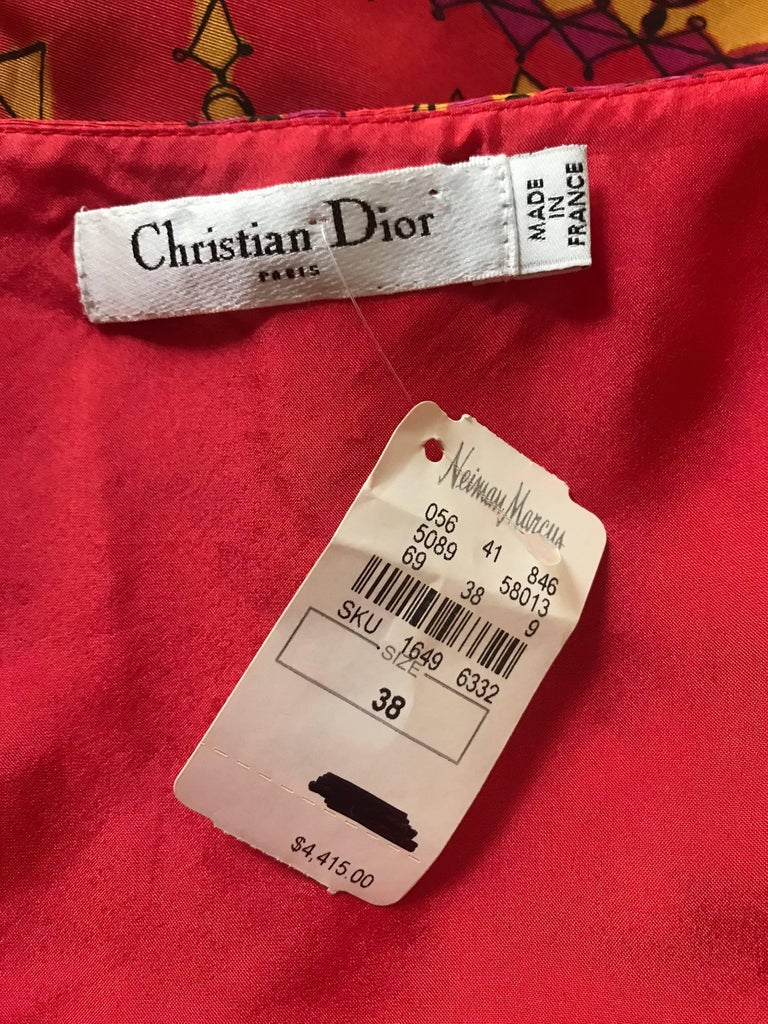Christian Dior Pink and Yellow Draped Tassel and Chain Print Dress  For Sale 2