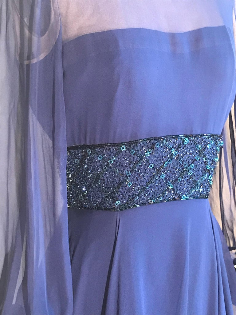 Women's Travilla 1970s Blue Floaty Chiffon Beaded Evening Dress with Sheer Sleeves For Sale