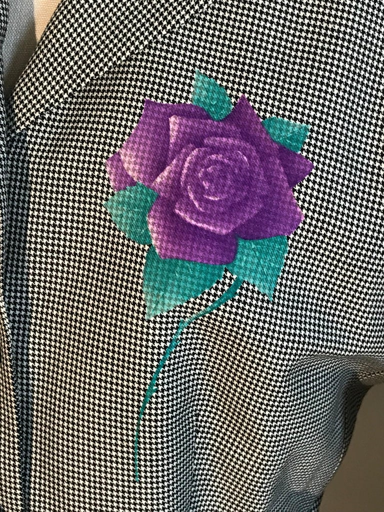 Gianni Versace 1990s Purple Flower Black White Houndstooth Skirt Suit For Sale 1