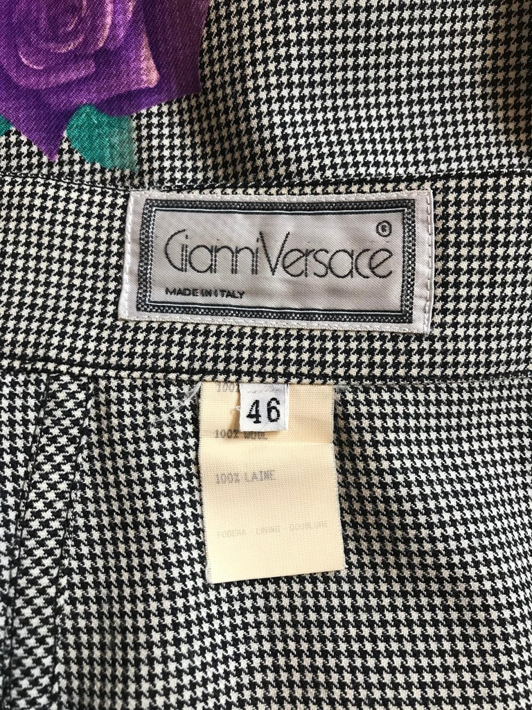 Gianni Versace 1990s Purple Flower Black White Houndstooth Skirt Suit For Sale 4