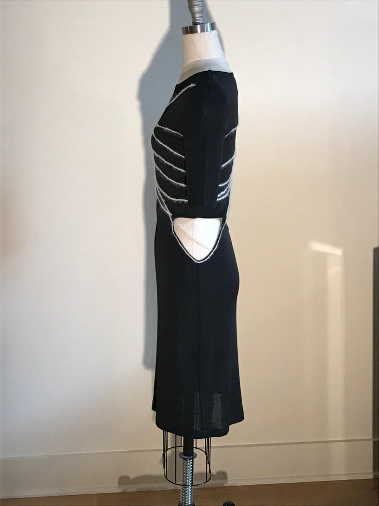 Gianni Versace Couture 1990s Black Knit Yarn Bodycon Dress with Cut Out at Waist In Excellent Condition For Sale In San Francisco, CA