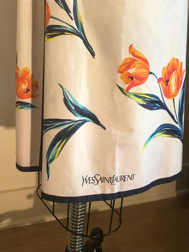 Women's Yves Saint Laurent YSL Vintage White Floral Dress Style Apron Orange and Blue For Sale