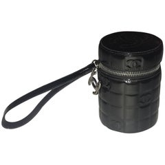 Chanel Black Patent Leather Quilted CC Logo Cylinder Canister Wristlet Clutch