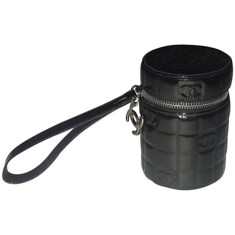 Chanel Black Patent Leather Quilted CC Logo Cylinder Canister Wristlet Clutch For Sale