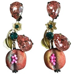 Dolce & Gabbana Pomegranate Fruit Earrings in Crystal and Gold Tone with Flower
