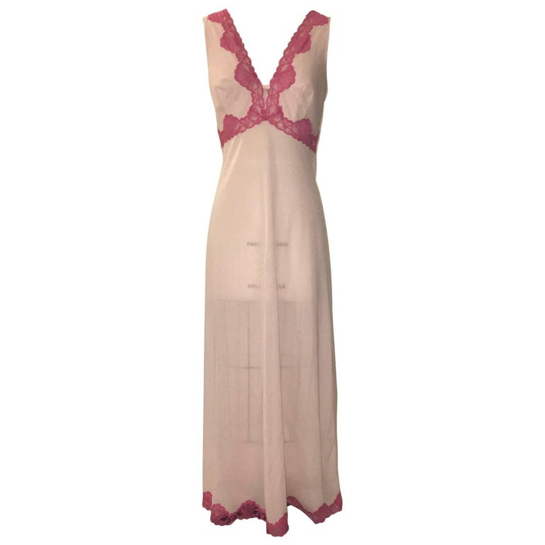 dac62228ff8 Emilio Pucci Pink Lace Trim Maxi Long Negligee Night Gown Slip, 1960s For  Sale
