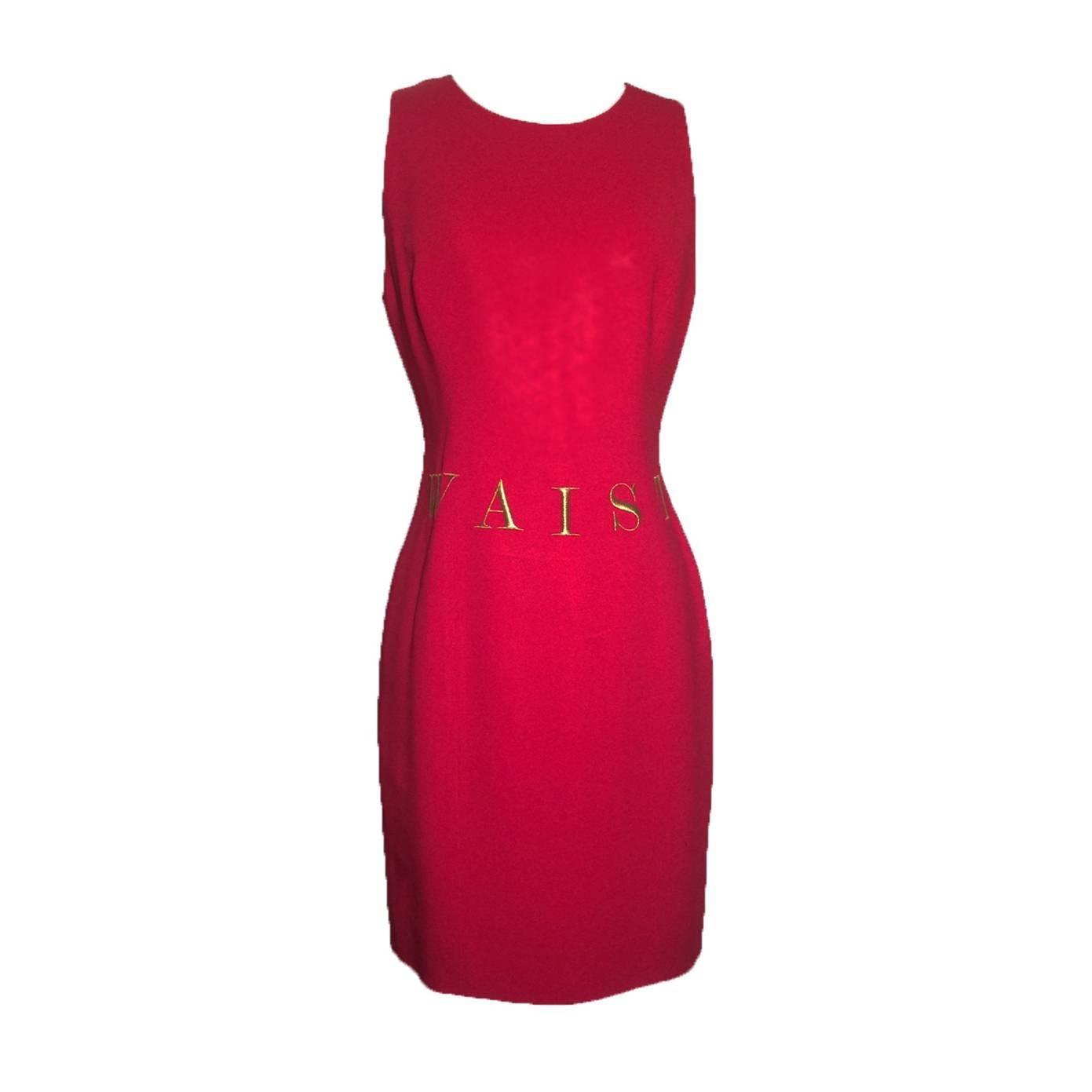 Moschino Couture Waist of Money Red Sleeveless Shift Dress, 1991