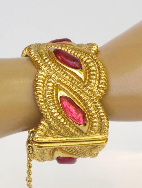 Jean Louis Scherrer Paris Signed Massive Jeweled Clamper Bracelet 5