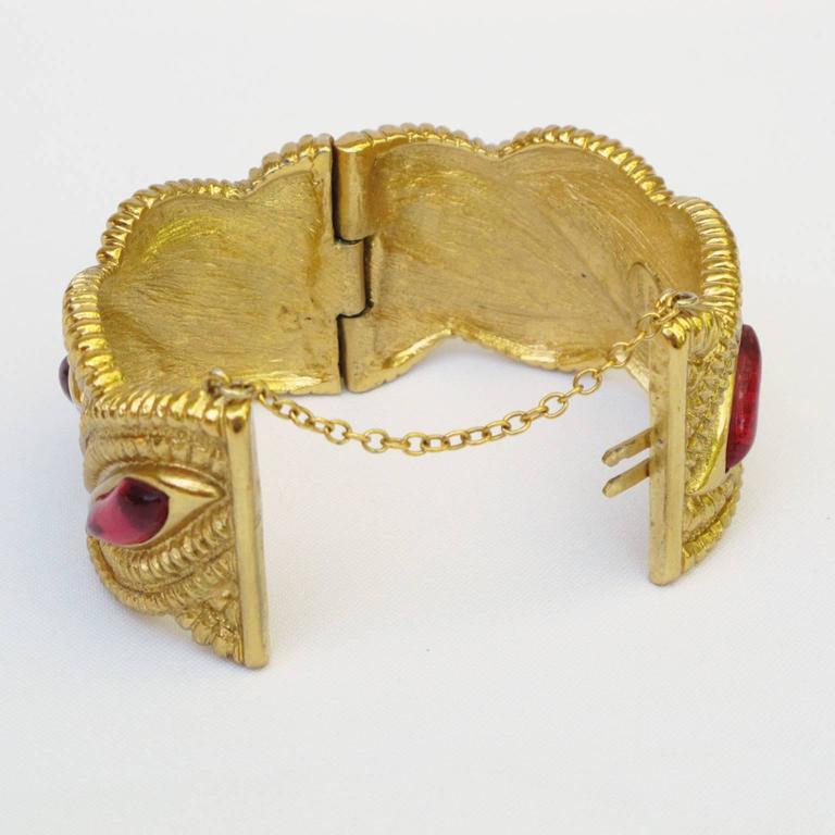 Jean Louis Scherrer Paris Signed Massive Jeweled Clamper Bracelet 4