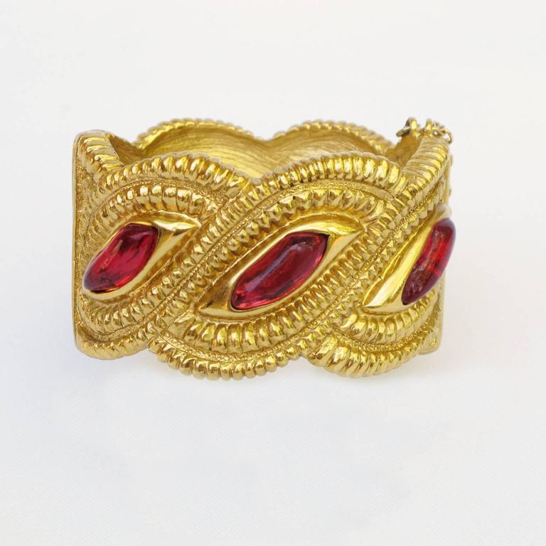 Jean Louis Scherrer Paris Signed Massive Jeweled Clamper Bracelet 3