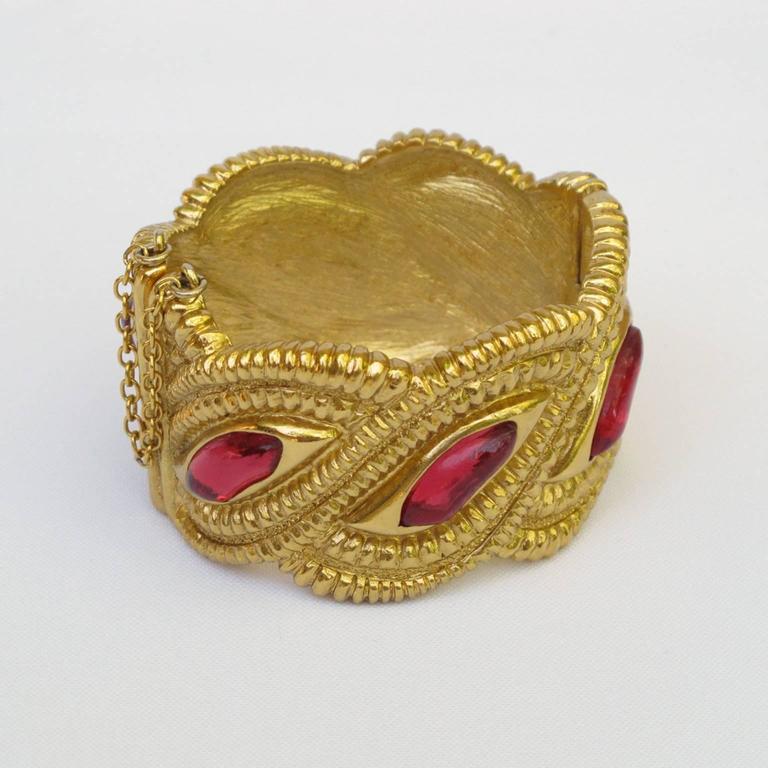 Jean Louis Scherrer Paris Signed Massive Jeweled Clamper Bracelet 2