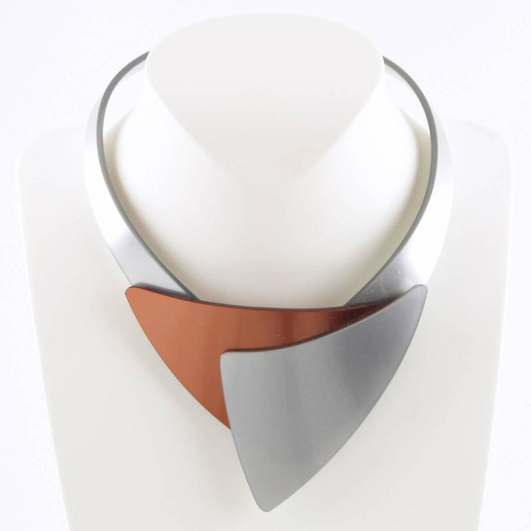 French Designer Space Age Lucite Plexiglass Sculptural Necklace 4