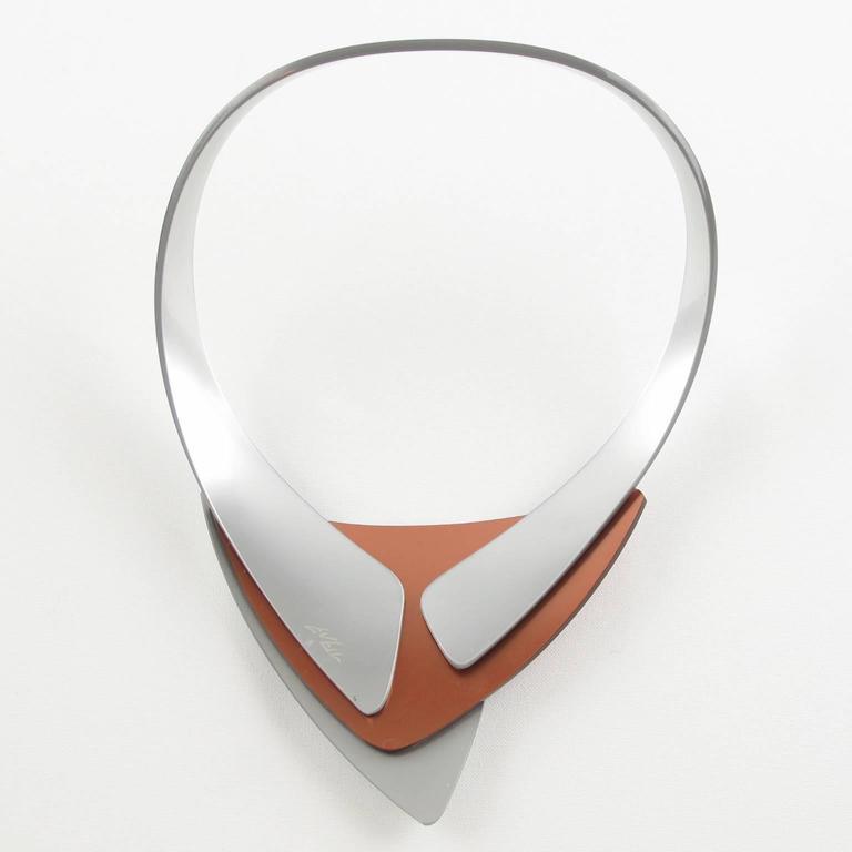 French Designer Space Age Lucite Plexiglass Sculptural Necklace 5