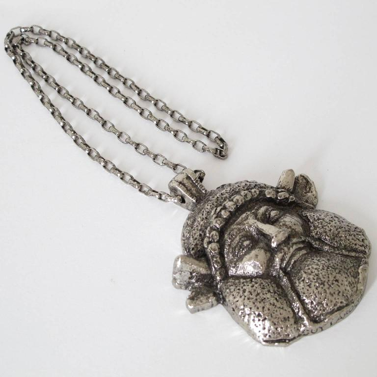 Guy Laroche Modernist Silvertone Massive Antique God Medallion Necklace 3