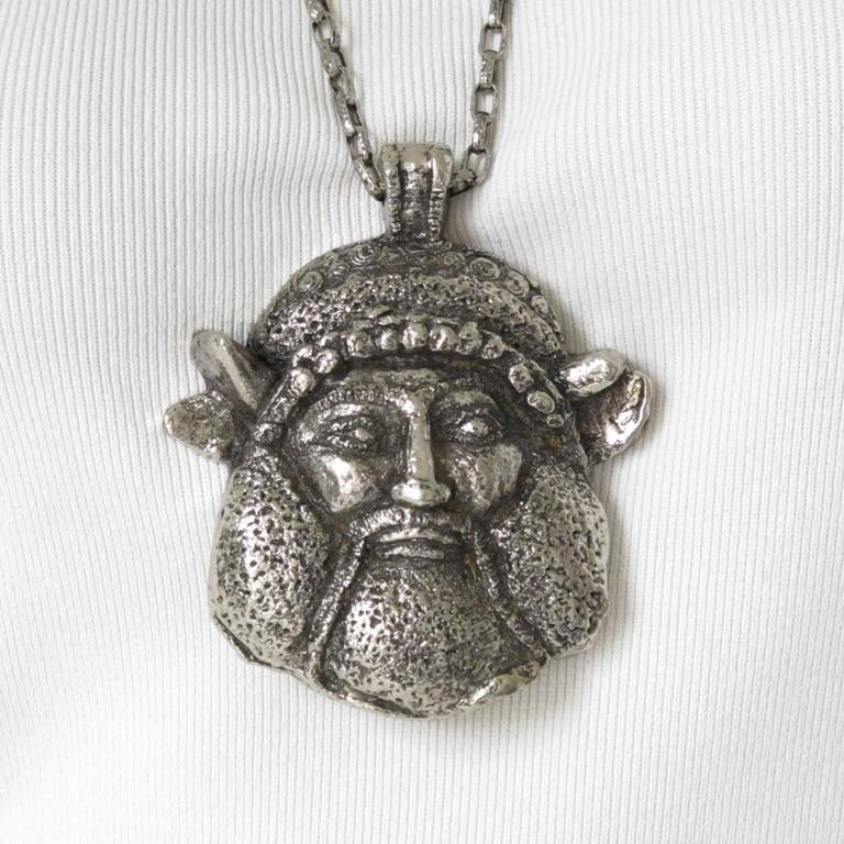 Guy Laroche Modernist Silvertone Massive Antique God Medallion Necklace 2