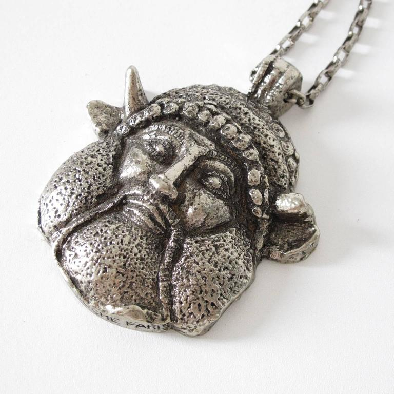 Guy Laroche Modernist Silvertone Massive Antique God Medallion Necklace 7