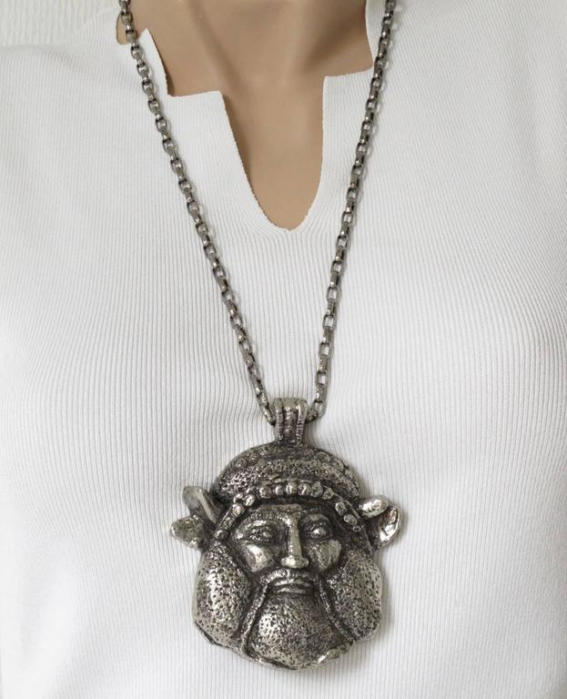 Guy Laroche Modernist Silvertone Massive Antique God Medallion Necklace 4
