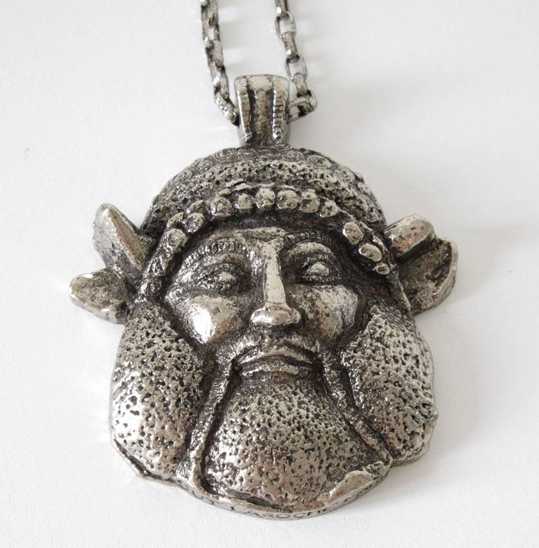 Guy Laroche Modernist Silvertone Massive Antique God Medallion Necklace 5