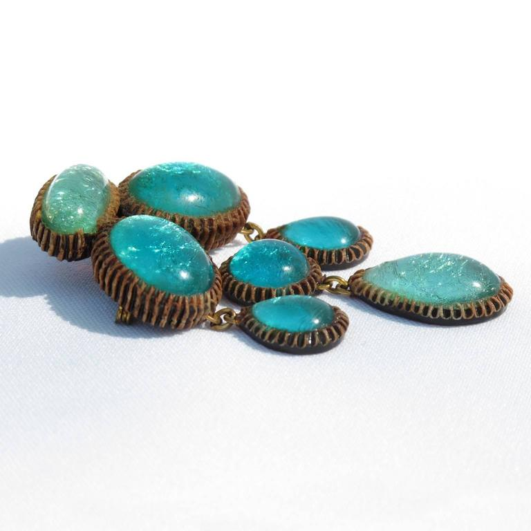 Turquoise Blue Talosel Pin Brooch executed by the workshop of Line Vautrin 4