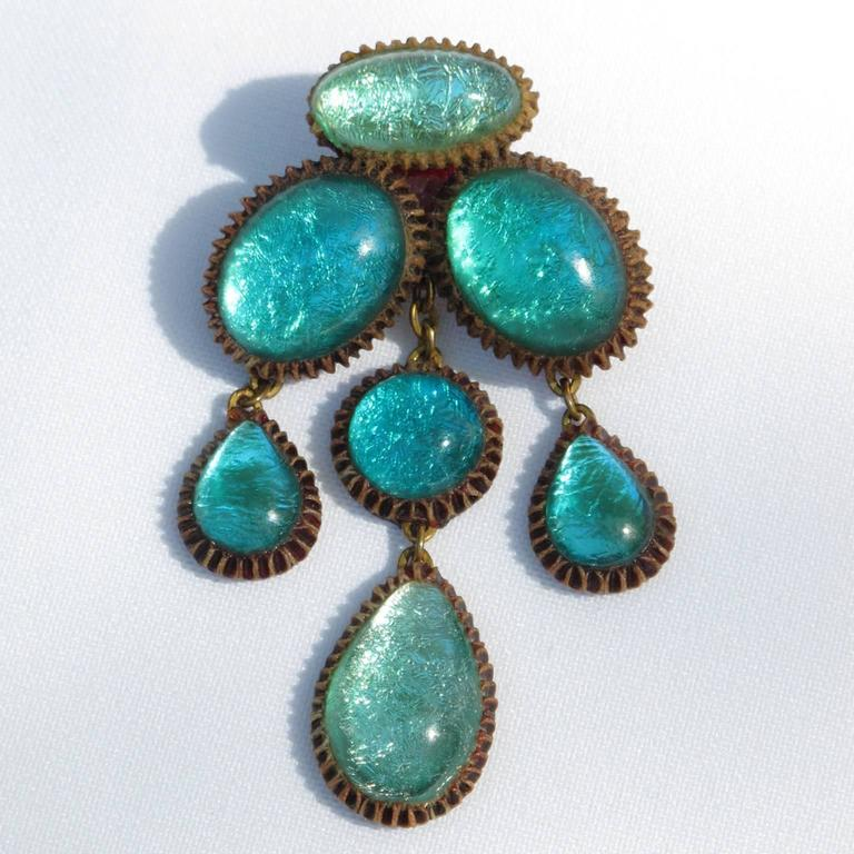 Turquoise Blue Talosel Pin Brooch executed by the workshop of Line Vautrin 2