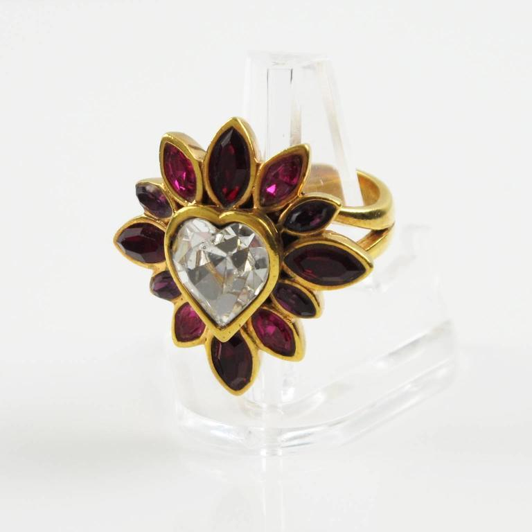 Yves Saint Laurent YSL Floral Cocktail Ring Pink Rhinestone Heart sz 6.75 2