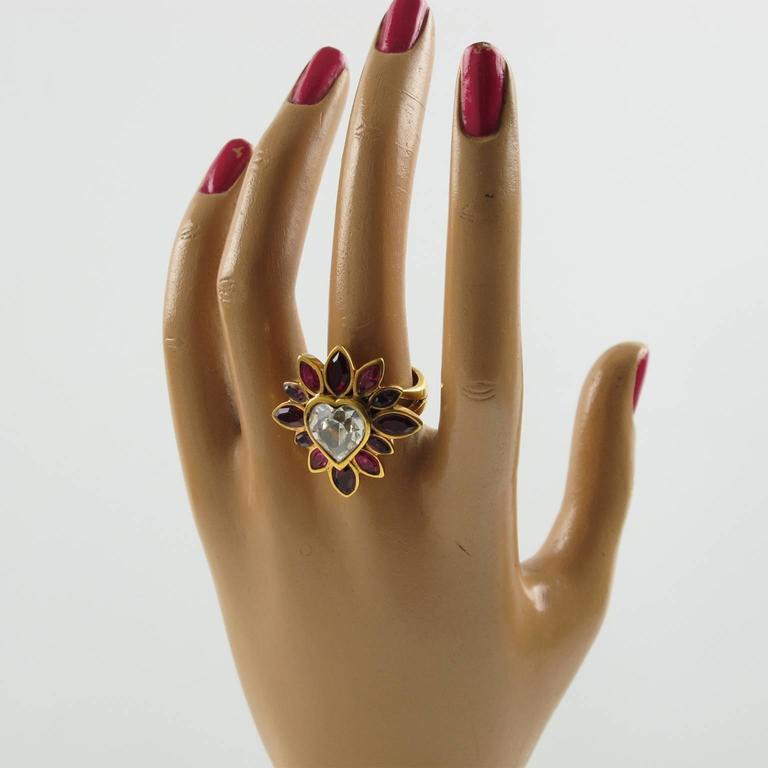 Yves Saint Laurent YSL Floral Cocktail Ring Pink Rhinestone Heart sz 6.75 4