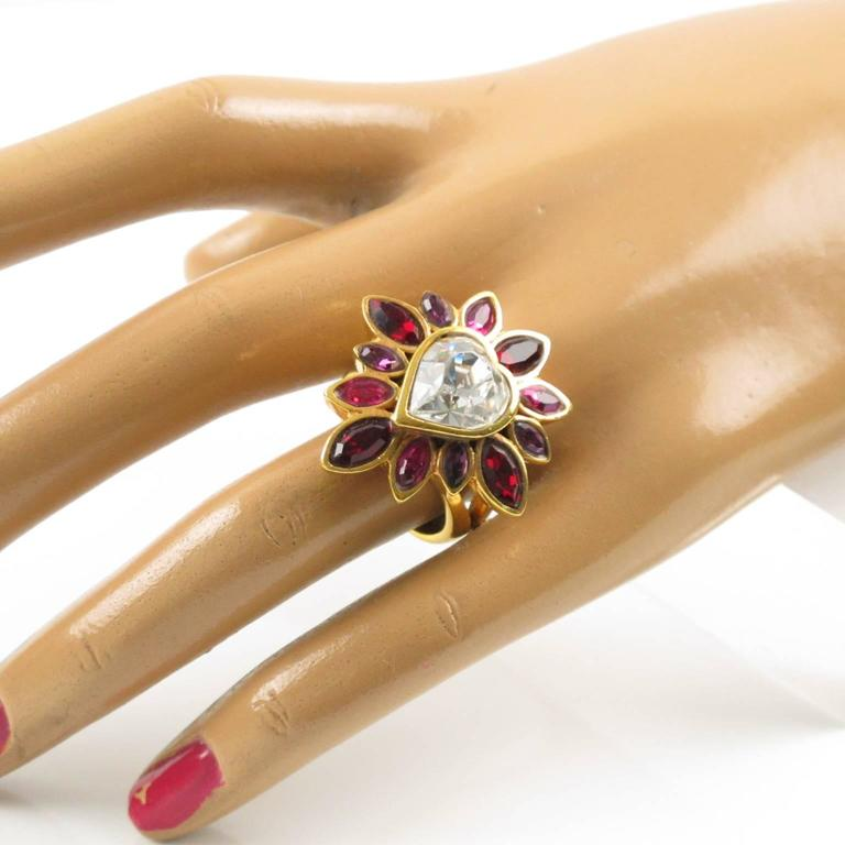 Yves Saint Laurent YSL Floral Cocktail Ring Pink Rhinestone Heart sz 6.75 6