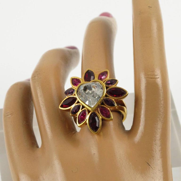 Yves Saint Laurent YSL Floral Cocktail Ring Pink Rhinestone Heart sz 6.75 3