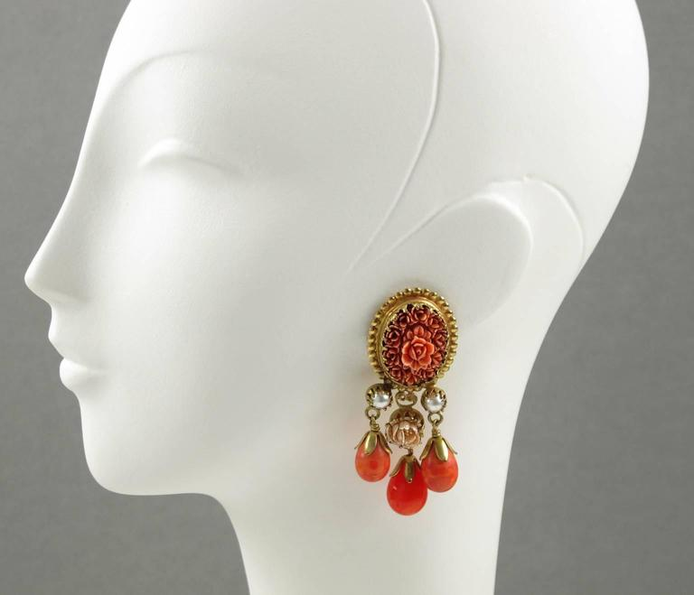 Vintage French Gas St Tropez dangling clip on earrings glass drop faux coral 3