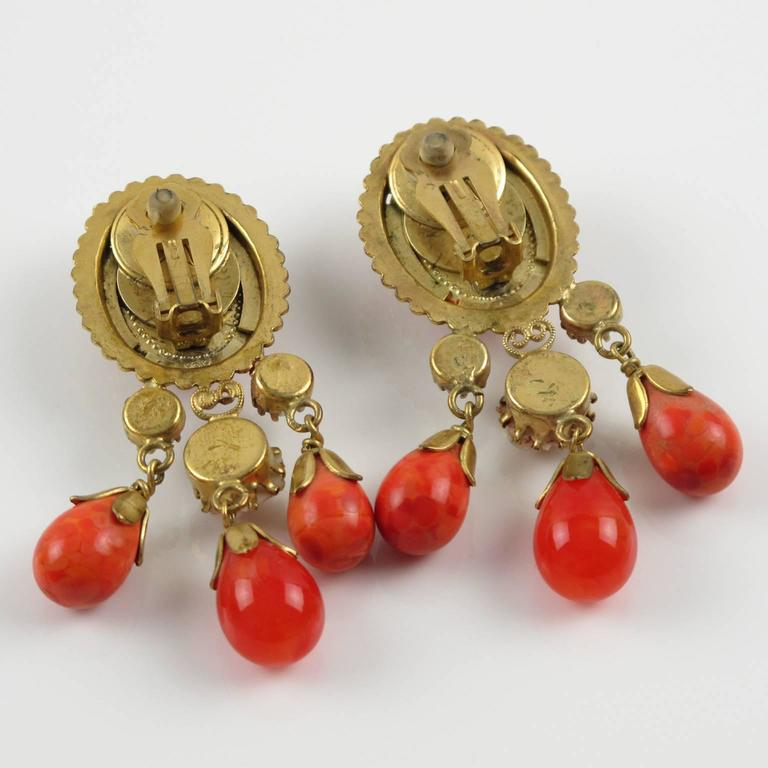 Vintage French Gas St Tropez dangling clip on earrings glass drop faux coral 4